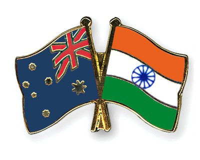 Crossed Flag Pins Australia-India