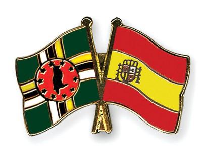 Crossed Flag Pins Dominica-Spain