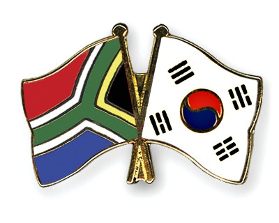 Crossed Flag Pins South-Africa-South-Korea