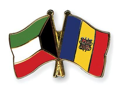 Crossed Flag Pins Kuwait-Andorra