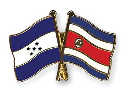 Crossed Flag Pins Honduras-Costa-Rica