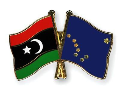 Crossed Flag Pins Libya-Alaska
