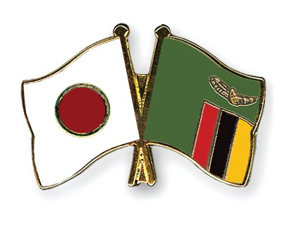 Special Offer Crossed Flag Pins Japan-Zambia