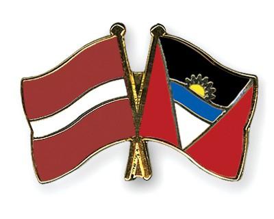 Crossed Flag Pins Latvia-Antigua-and-Barbuda