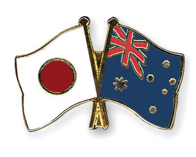 Crossed Flag Pins Japan-Australia