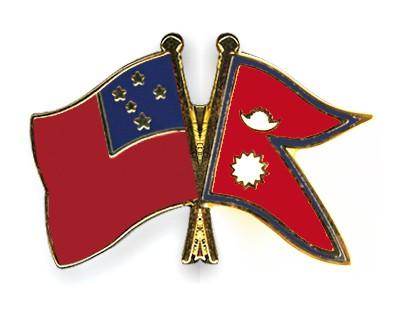 Crossed Flag Pins Samoa-Nepal