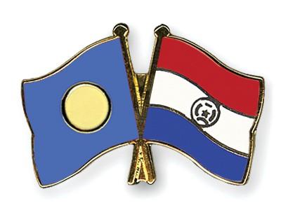 Crossed Flag Pins Palau-Paraguay