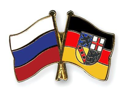 Crossed Flag Pins Russia-Saarland