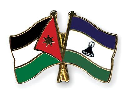 Crossed Flag Pins Jordan-Lesotho