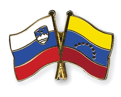 Crossed Flag Pins Slovenia-Venezuela