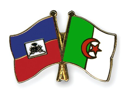 Crossed Flag Pins Haiti-Algeria