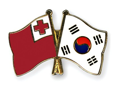 Crossed Flag Pins Tonga-South-Korea