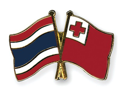 Crossed Flag Pins Thailand-Tonga