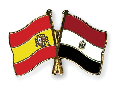 Crossed Flag Pins Spain-Egypt