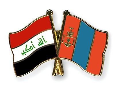 Crossed Flag Pins Iraq-Mongolia