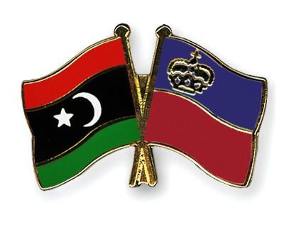 Crossed Flag Pins Libya-Liechtenstein