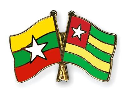 Crossed Flag Pins Myanmar-Togo