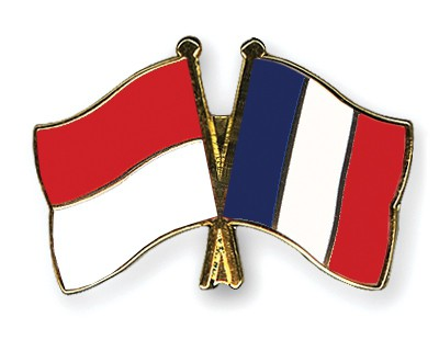 Crossed Flag Pins Indonesia-France
