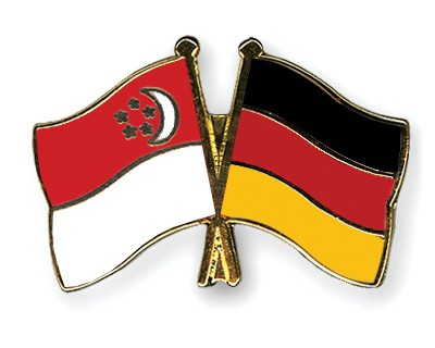 Special Offer Crossed Flag Pins Singapore-Germany