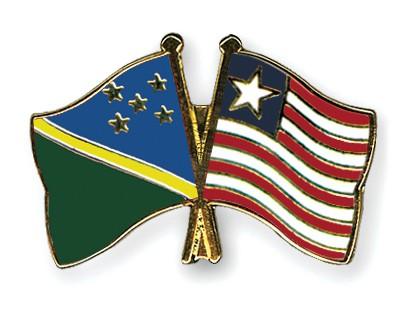 Crossed Flag Pins Solomon-Islands-Liberia