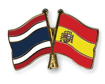 Crossed Flag Pins Thailand-Spain