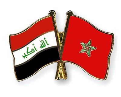 Crossed Flag Pins Iraq-Morocco