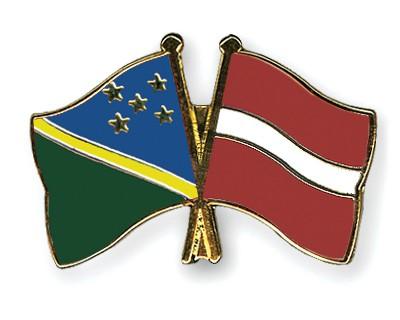 Crossed Flag Pins Solomon-Islands-Latvia