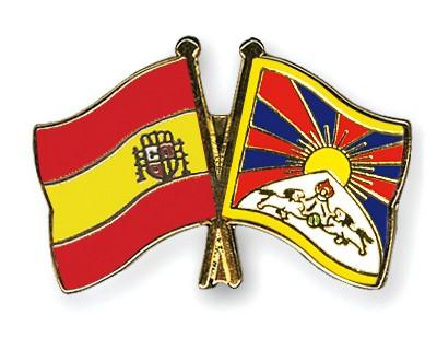 Crossed Flag Pins Spain-Tibet