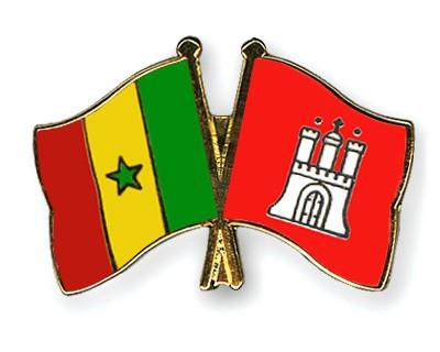 Crossed Flag Pins Senegal-Hamburg