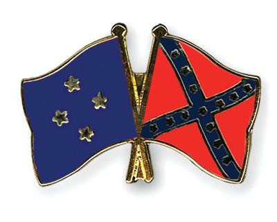 Crossed Flag Pins Micronesia-Confederate-battle