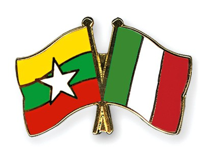Crossed Flag Pins Myanmar-Italy