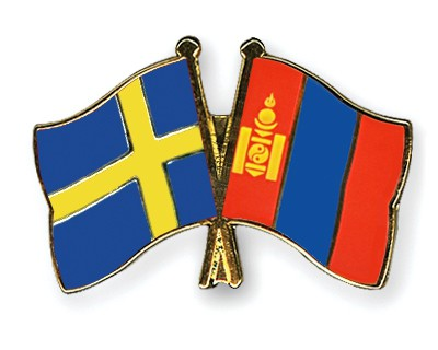 Special Offer Crossed Flag Pins Sweden-Mongolia