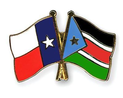 Crossed Flag Pins Texas-South-Sudan