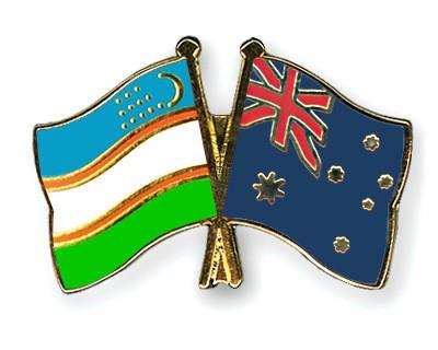 Crossed Flag Pins Uzbekistan-Australia