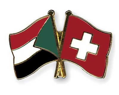 Crossed Flag Pins Sudan-Switzerland