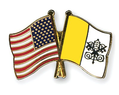 Special Offer Crossed Flag Pins USA-Vatican-City