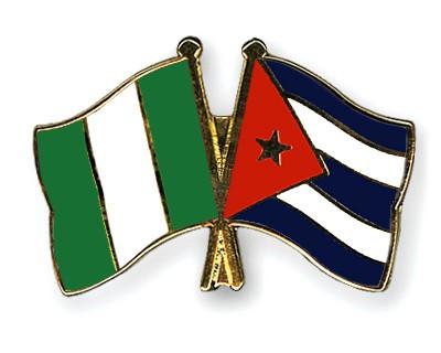 Crossed Flag Pins Nigeria-Cuba