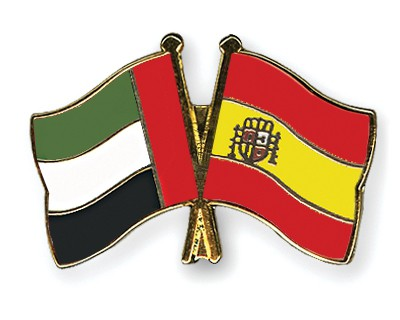 Crossed Flag Pins United-Arab-Emirates-Spain