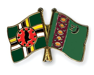Crossed Flag Pins Dominica-Turkmenistan