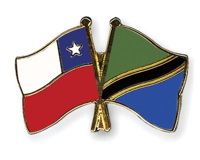 Crossed Flag Pins Chile-Tanzania