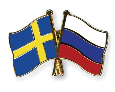 Special Offer Crossed Flag Pins Sweden-Russia