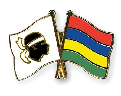 Crossed Flag Pins Corsica-Mauritius