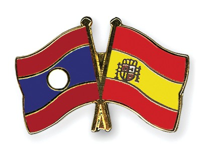 Crossed Flag Pins Laos-Spain
