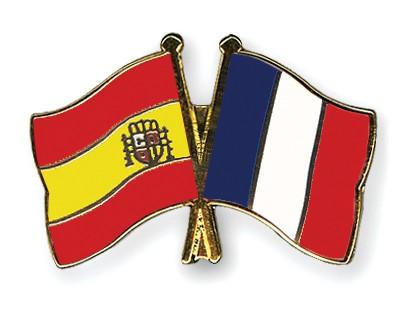 Crossed Flag Pins Spain-France
