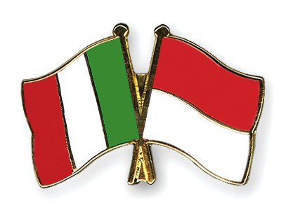 Crossed Flag Pins Italy-Indonesia