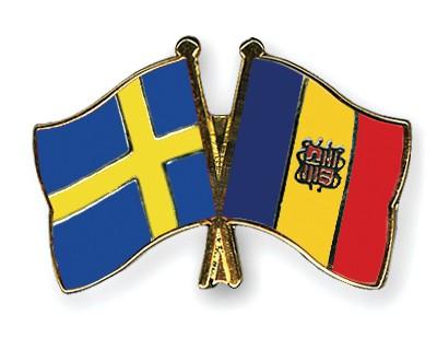 Crossed Flag Pins Sweden-Andorra