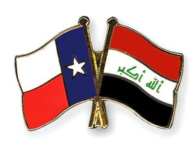 Crossed Flag Pins Texas-Iraq