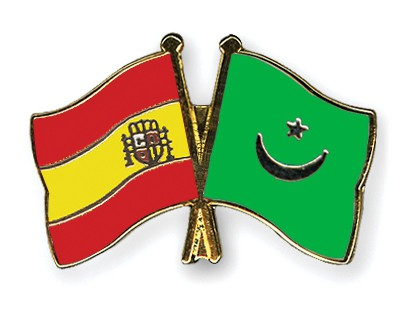 Crossed Flag Pins Spain-Mauritania