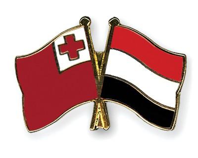 Crossed Flag Pins Tonga-Yemen