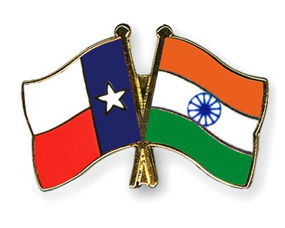 Crossed Flag Pins Texas-India